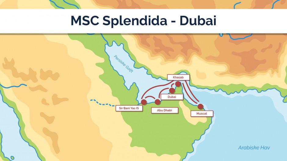 MSC Splendida - Dubai sejlplan 2