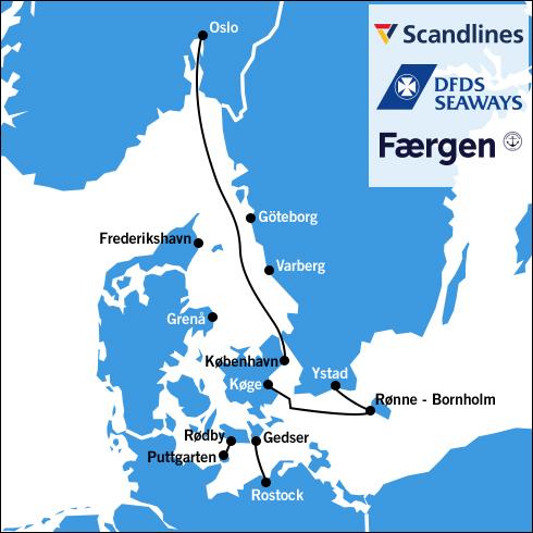 Kort med færgeruterne