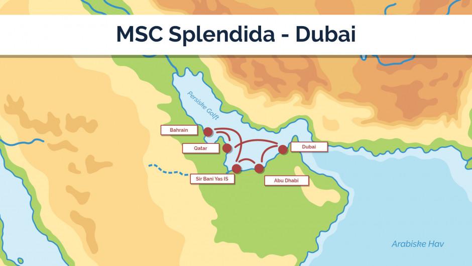 MSC Splendida - Dubai sejlplan 1