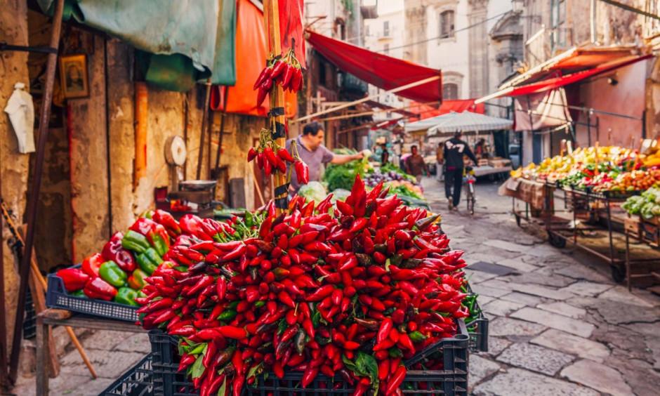 Sicilien - Gademarked på øen i Palermo
