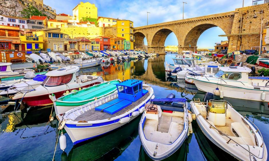 Marseille - Både ved kaj i kystbbyen