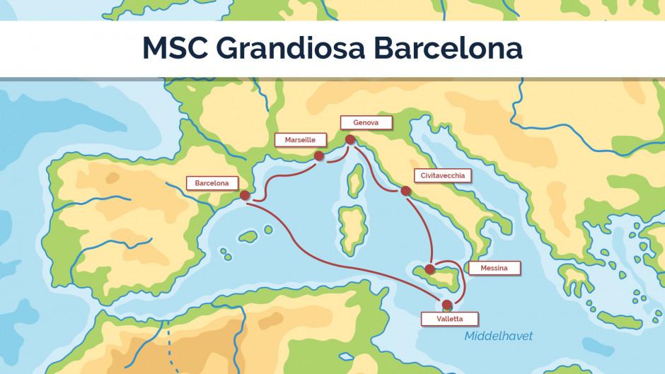 MSC Grandiosa - Barcelona - sejlplan