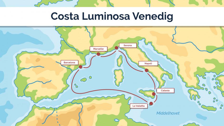 Costa Luminosa - Venedig - sejlplan 1