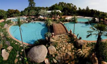 Flot poolområde med wellness