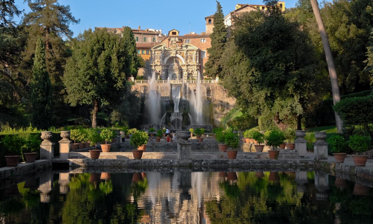 Villa d'este naer rom i Italien