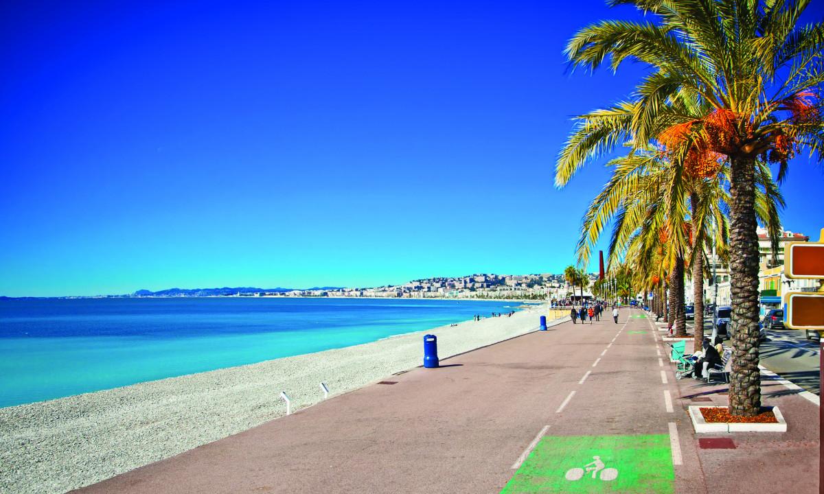Strandpromenade med palmer
