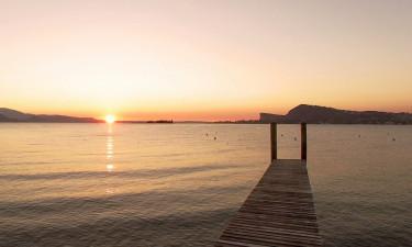 Badebro - Solnedgang over Gardasøen