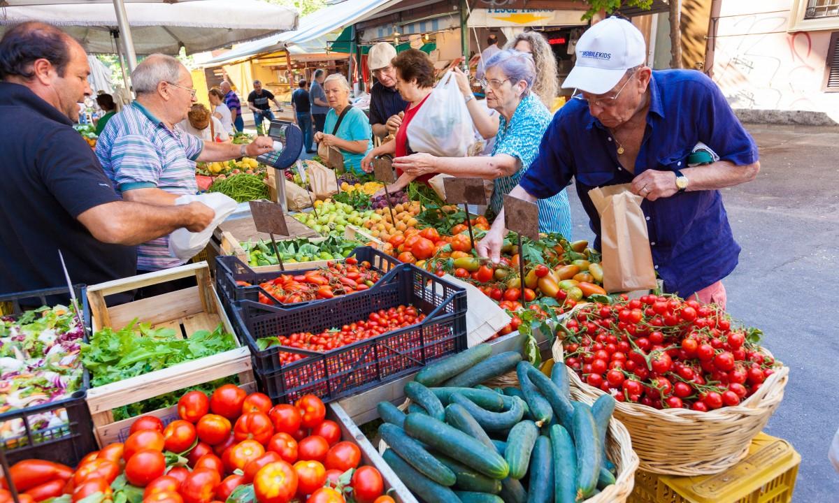 Madmarked med friske fødevarer i Rom
