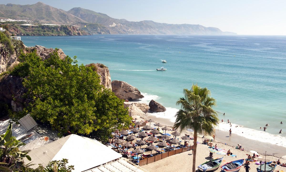 Kysten ved Costa del Sol i Spanien