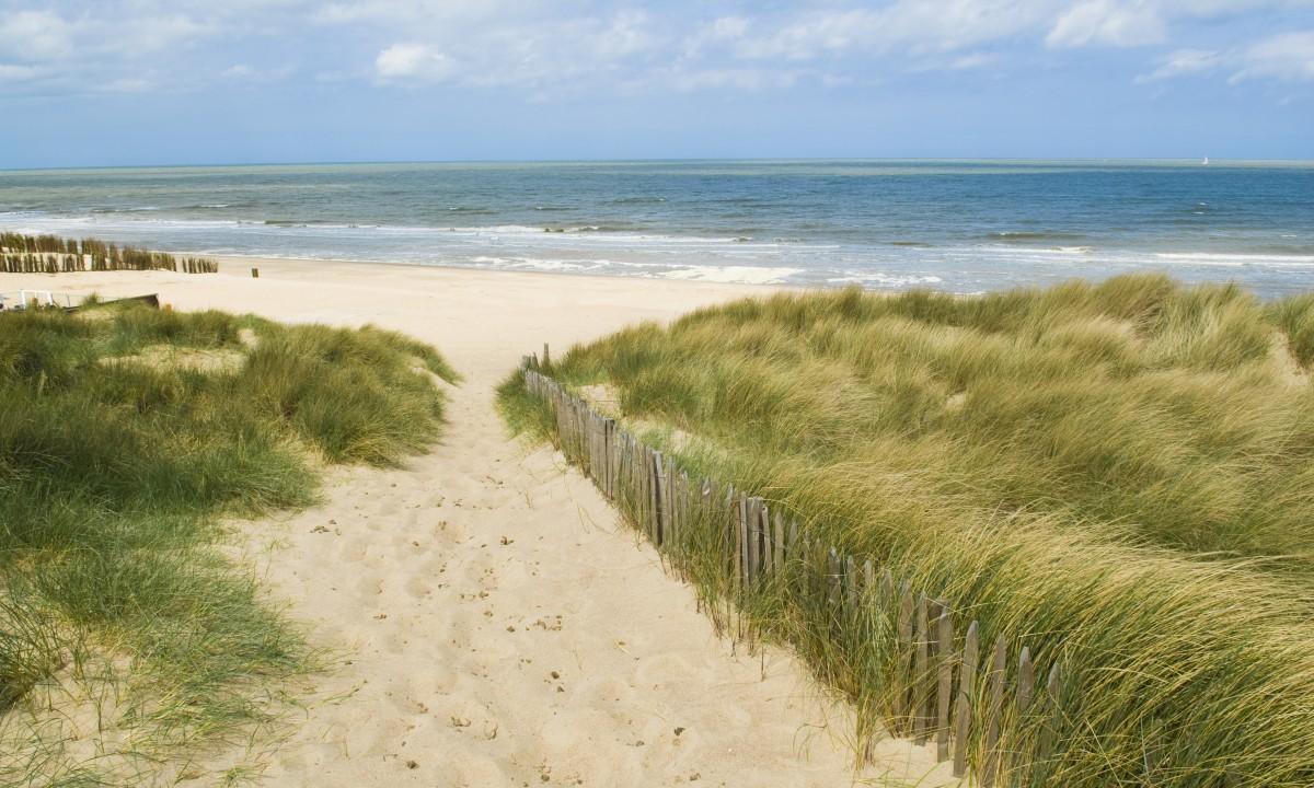 Strand i Vestflandern i Belgien