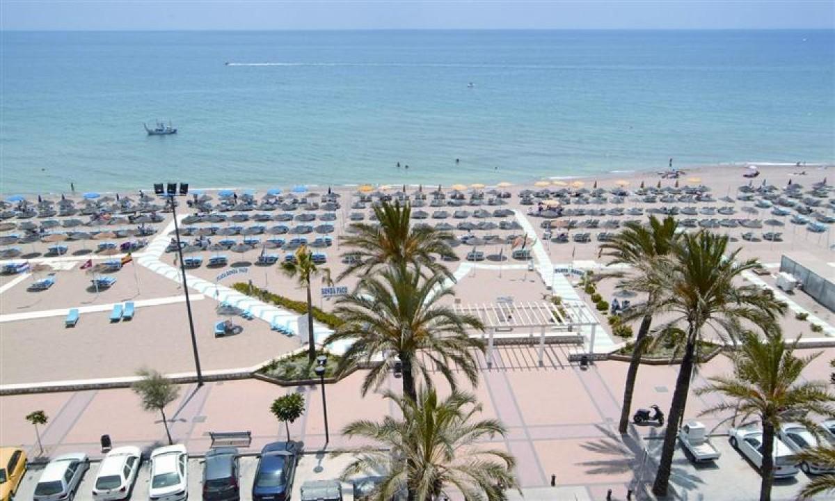 Luftfoto over stranden ved Costa del Sol