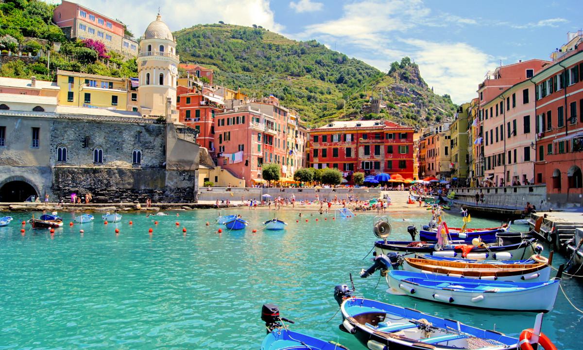 Billedskoent omraade ved Vernazza i Cinque Terre