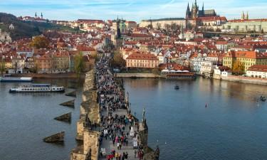 Prag - Karlsbroen over floden Vltava