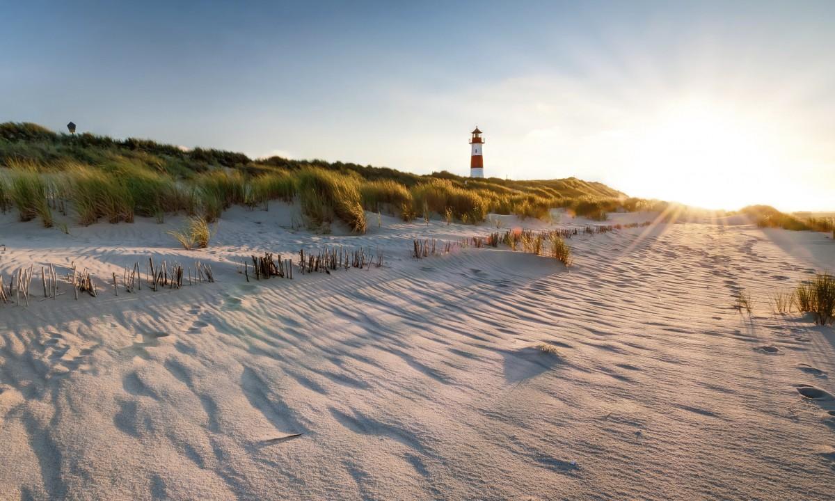 Landskab ved stranden i Danmark