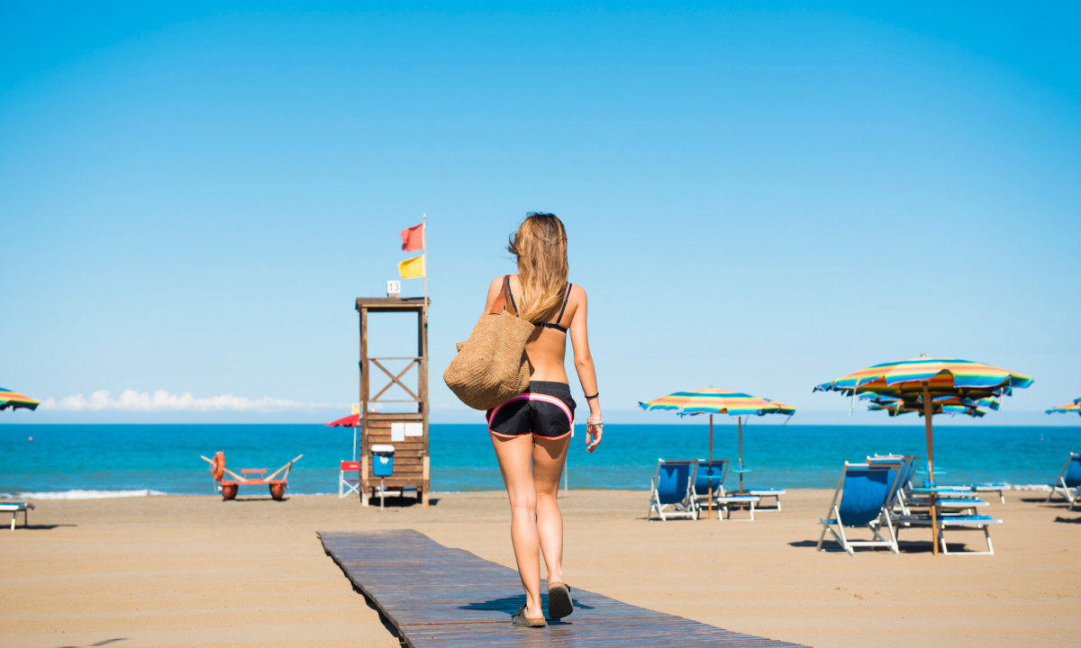 Privat strand ved pladsen