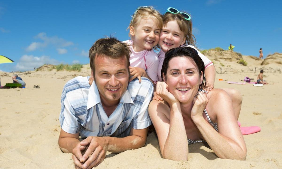 Familiebillede på stranden